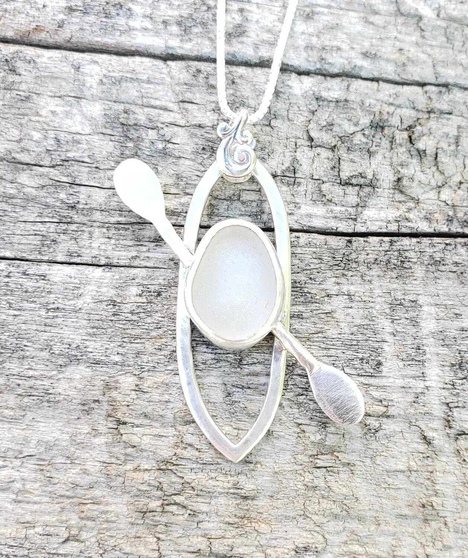 White Lake Erie Beach Glass Kayak Necklace