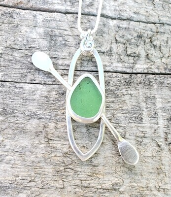 Green Beach Glass Kayak Necklace