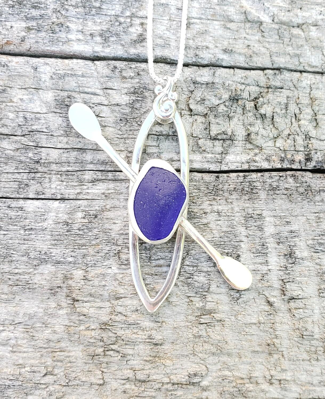 Dark Cobalt Blue Beach Glass Kayak Necklace