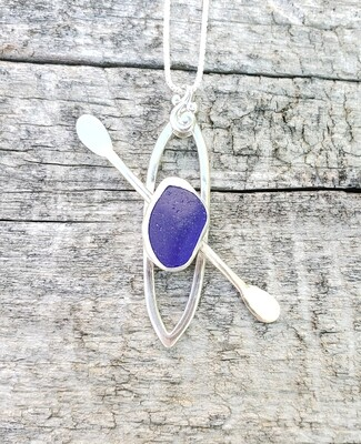 Dark Cobalt Blue Beach Glass Kayak Necklace