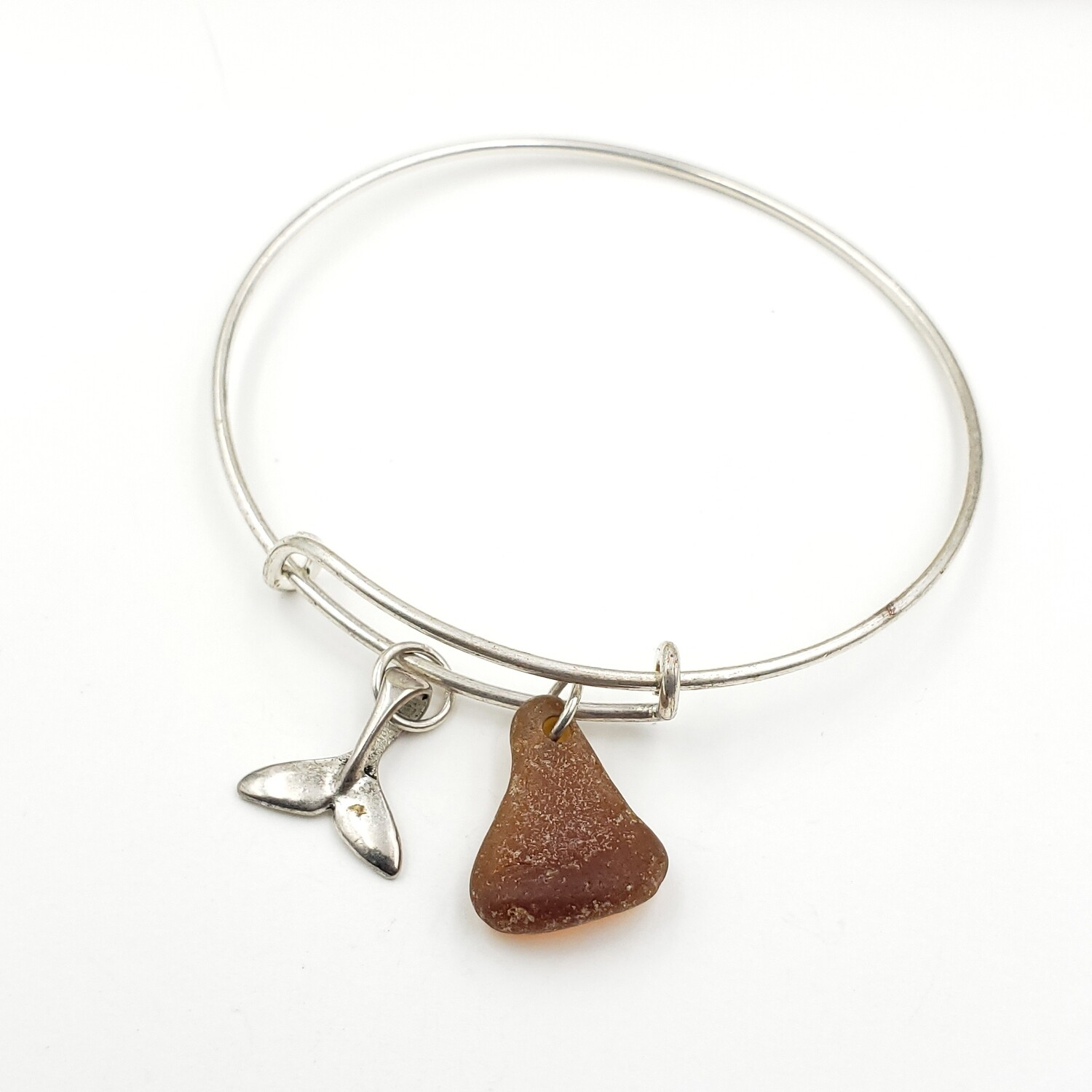 Bangle Bracelet with Whale Tale Charm and Brown Lake Erie Beach Glass