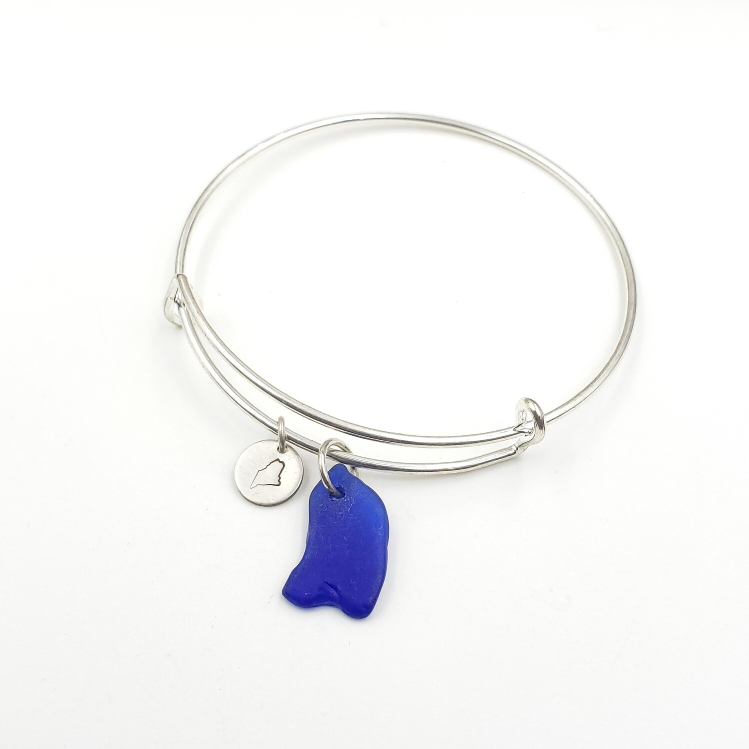 Bangle Bracelet with Stamped State of Maine Charm and Cobalt Blue Maine Sea Glass