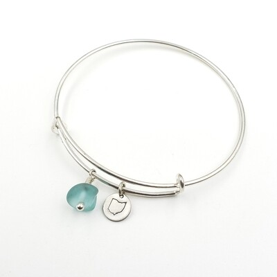 Bangle Bracelet with Stamped State of Ohio Charm and Light Blue Lake Erie Beach Glass
