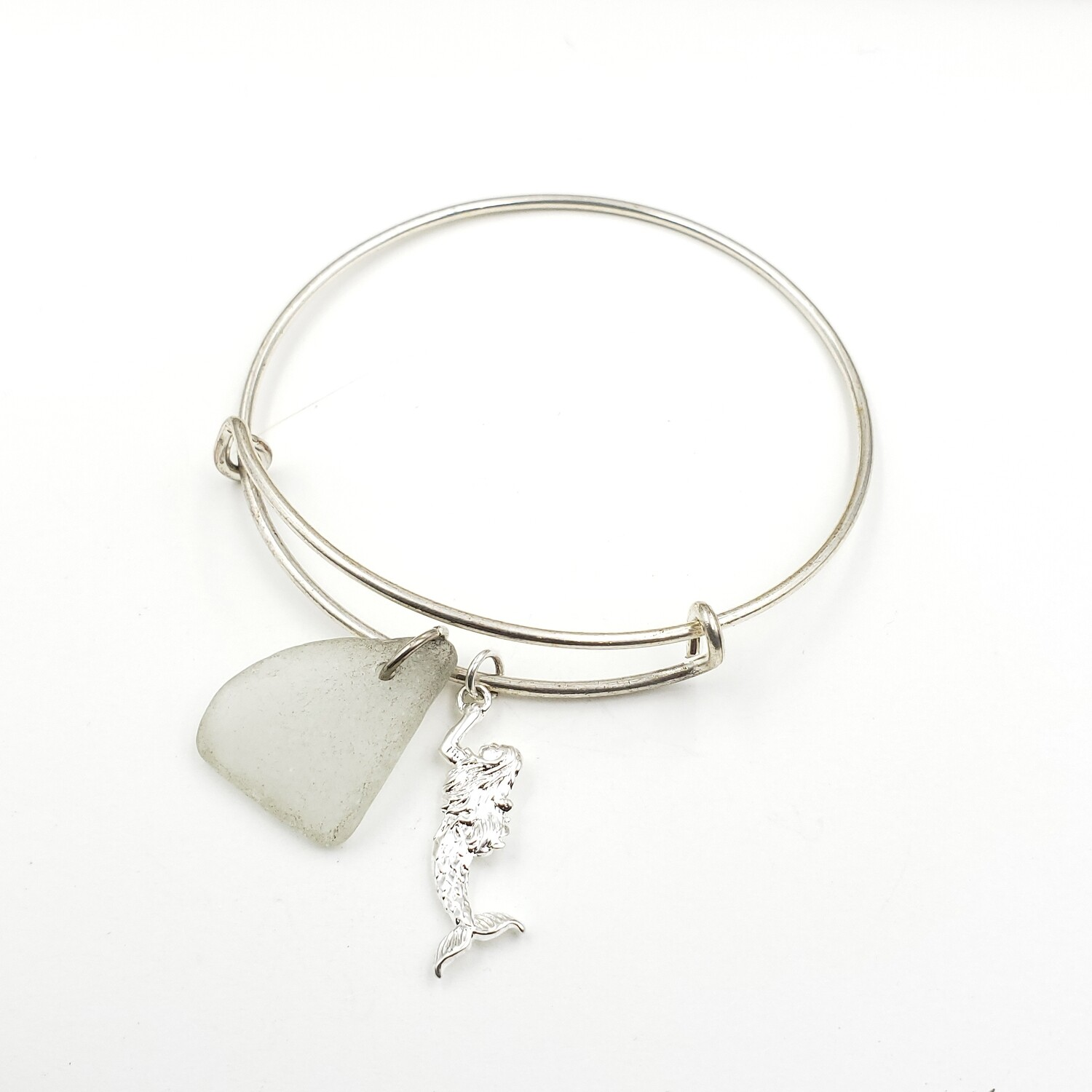 Bangle Bracelet with Mermaid Charm and White Lake Erie Beach Glass