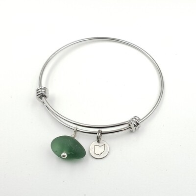 Bangle Bracelet with Stamped State of Ohio Charm and olive green Lake Erie Beach Glass