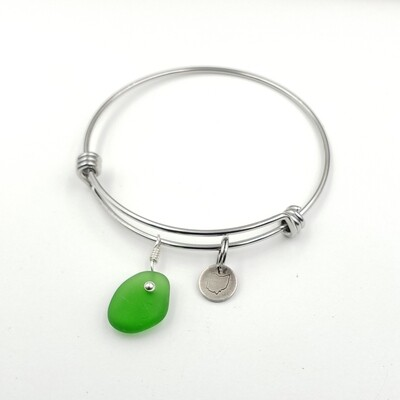 Bangle Bracelet with Stamped State of Ohio Charm and Green Lake Erie Beach Glass