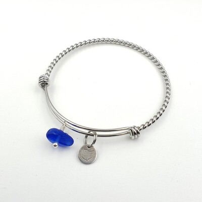 Twisted Bangle Bracelet with Stamped State of Ohio Charm and Cobalt Blue Lake Erie Beach Glass