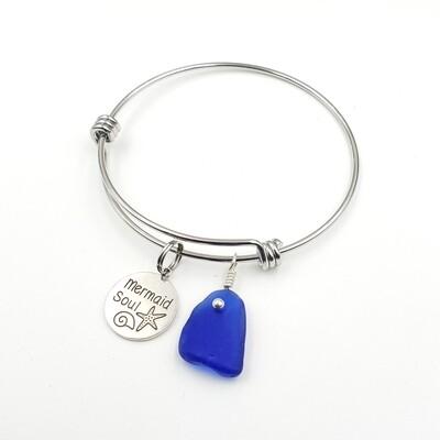 "Bangle Bracelet with ""Mermaid Soul"" Charm and Blue Lake Erie Beach Glass"