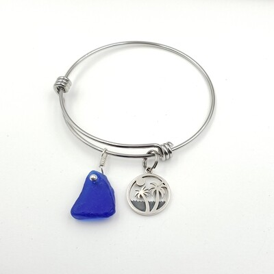 Bangle Bracelet with Palm Trees Charm and Blue Lake Erie Beach Glass