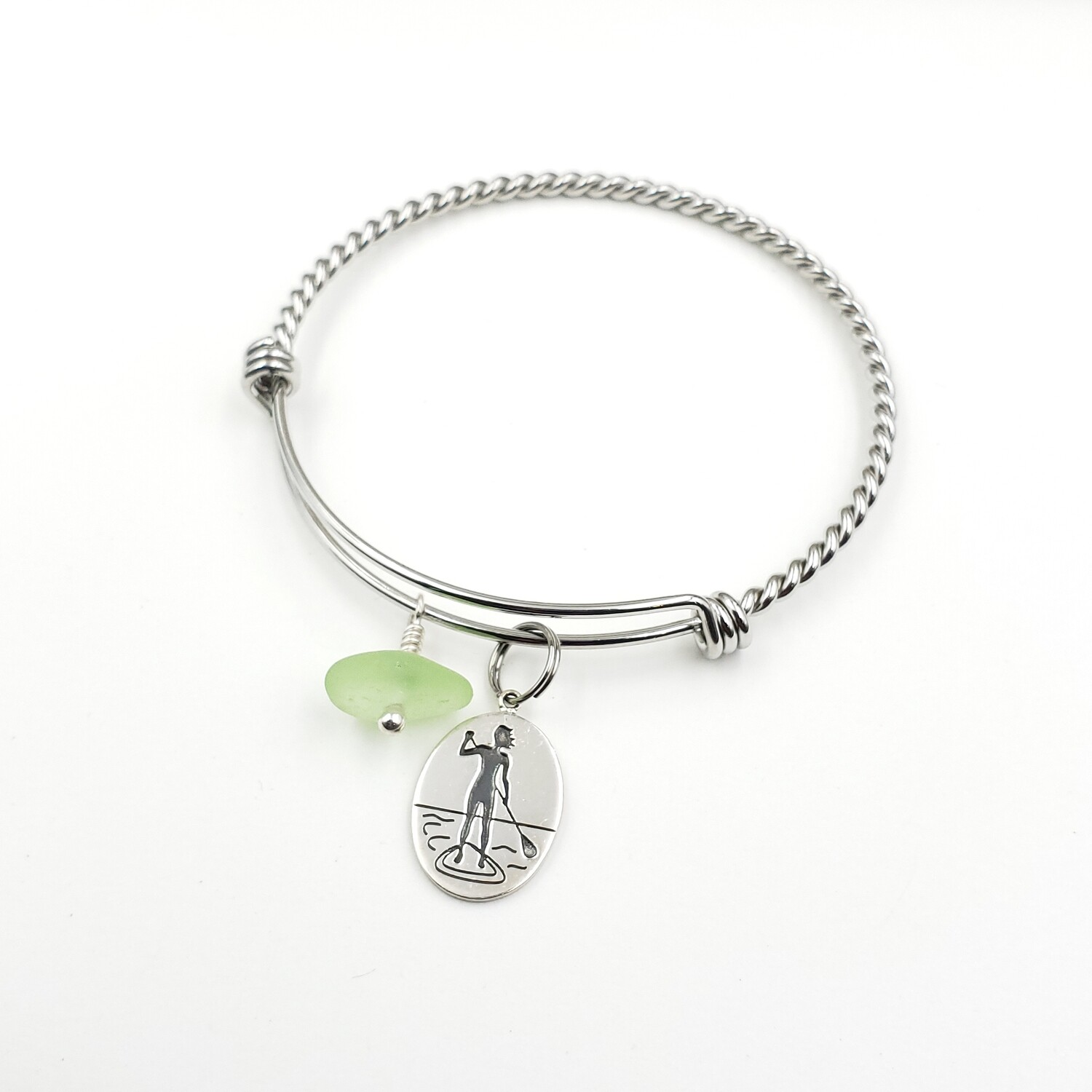 Twisted Bangle Bracelet with Standup Paddleboard Charm and UV Vaseline Lake Erie Beach Glass