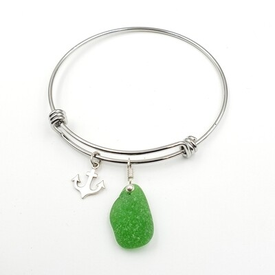 Bangle Bracelet with Anchor Charm and Green Lake Erie Beach Glass