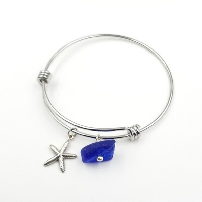 Bangle Bracelet with Starfish Charm and Blue Lake Erie Beach Glass