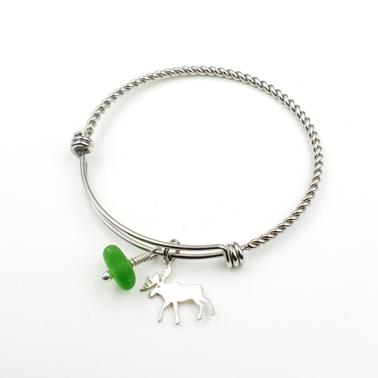 Twisted Bangle Bracelet with Moose Charm and Green Lake Erie Beach Glass