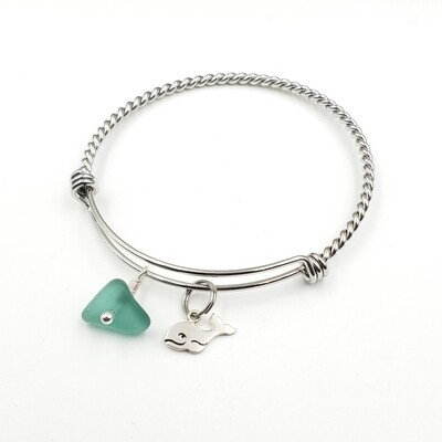 Twisted Bangle Bracelet with Whale Charm and Teal Lake Erie Beach Glass