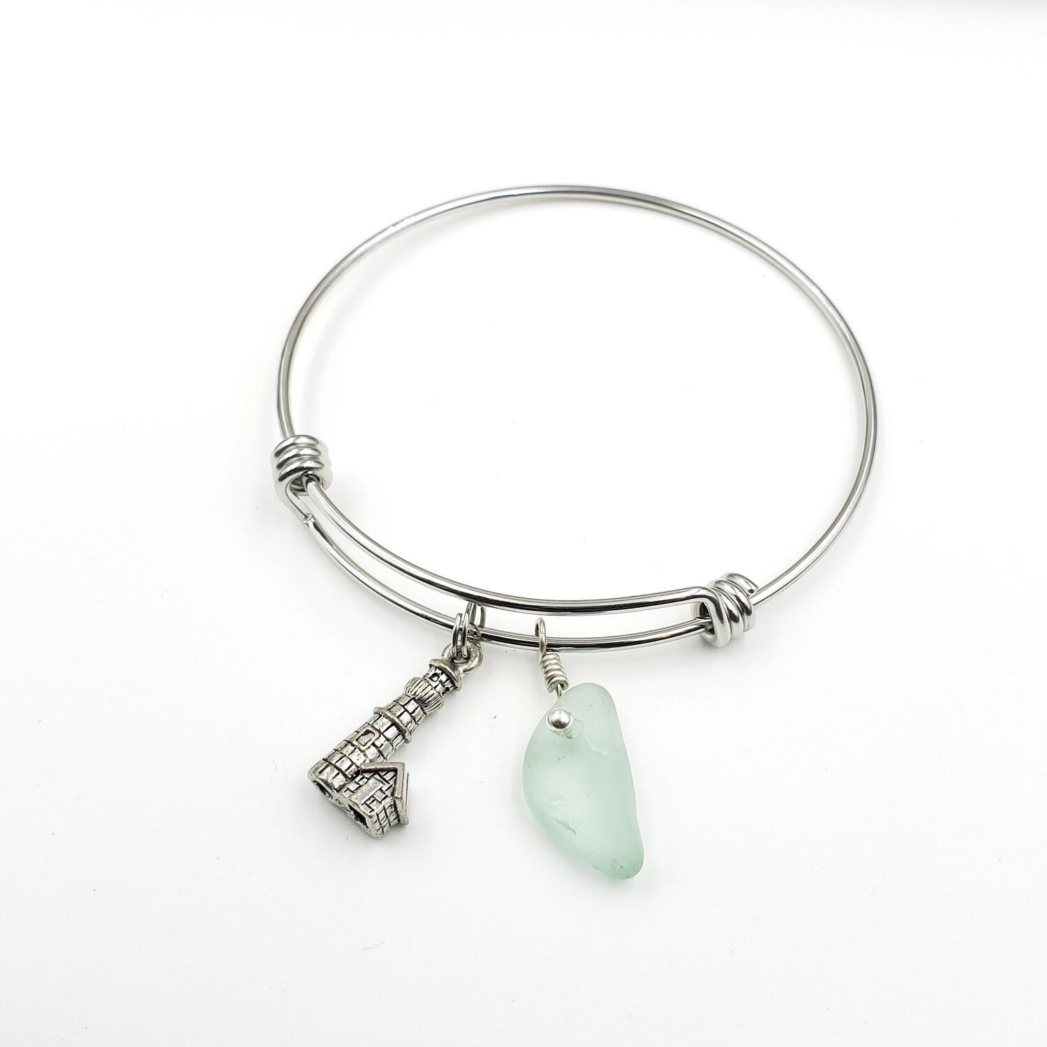 Bangle Bracelet with Lighthouse Charm and Seafoam Green Lake Erie Beach Glass
