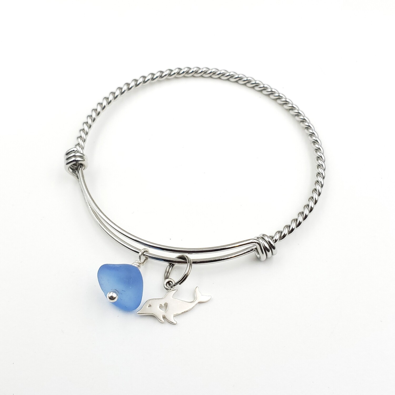 Twisted Bangle Bracelet with Dolphin Heart Charm and Cornflower Blue Lake Erie Beach Glass