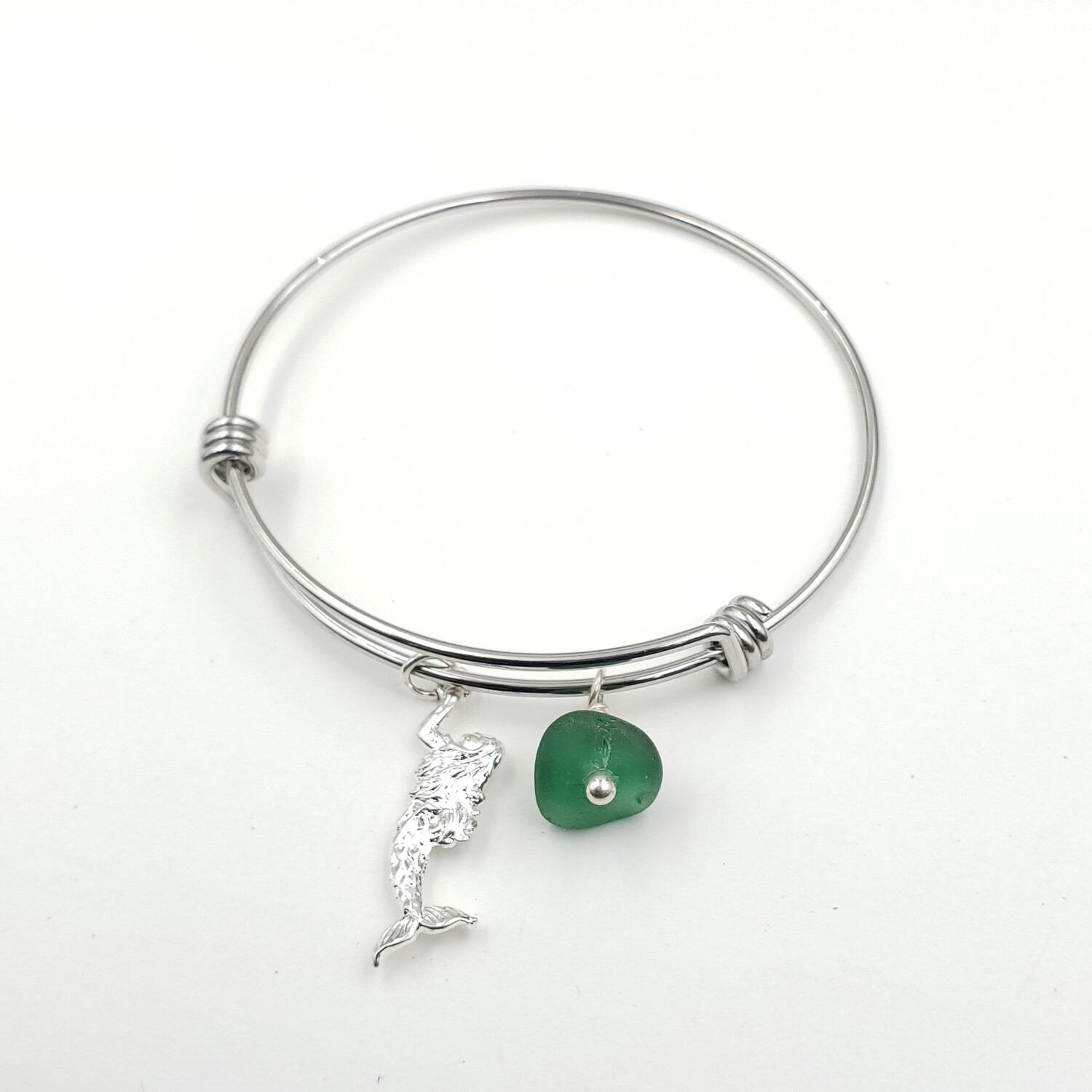 Bangle Bracelet with Mermaid Charm and Dark Green Lake Erie Beach Glass