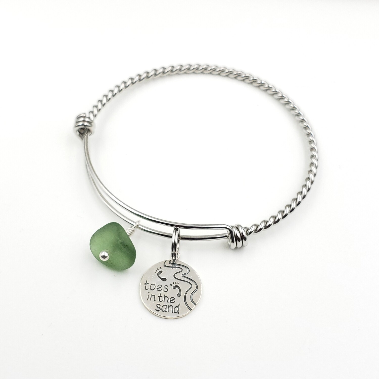"Twisted Bangle Bracelet with ""Toes in the Sand"" Charm and Olive Green Lake Erie Beach Glass"