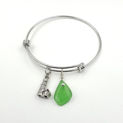 Bangle Bracelet with Lighthouse Charm and Green Lake Erie Beach Glass