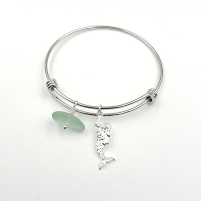Bangle Bracelet with Mermaid Charm and Seafoam Green Lake Erie Beach Glass