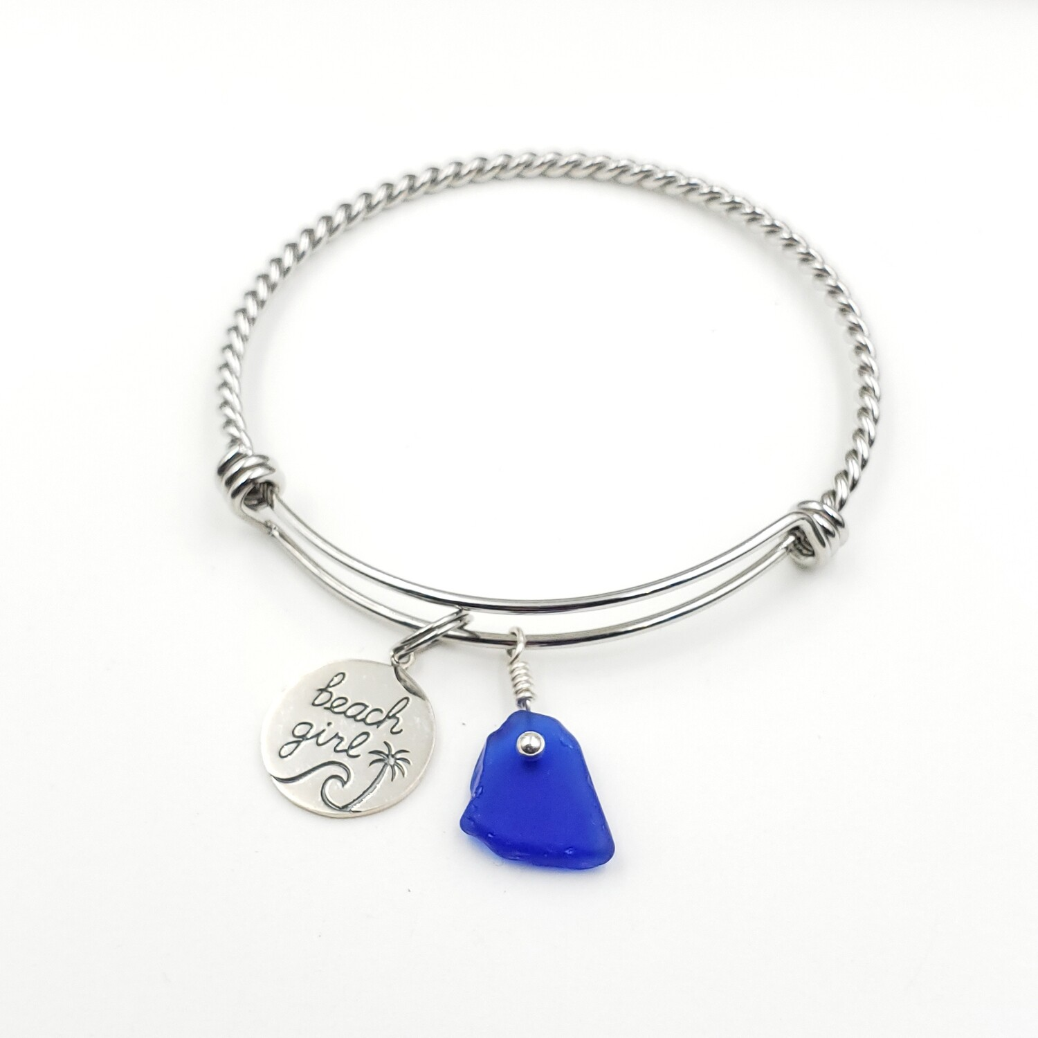 "Twisted Bangle Bracelet with ""Beach Girl"" Charm and Blue Lake Erie Beach Glass"