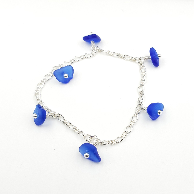 Cobalt Blue Lake Erie Beach Glass Figaro Chain Bracelet in Sterling Silver