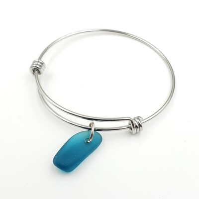 Bangle Bracelet with Teal Blue Maine Sea Glass