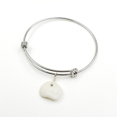 Bangle Bracelet with Lake Erie Lucky Stone