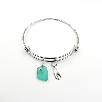 Bangle Bracelet with Crab Claw Charm and Teal Green Maine Sea Glass