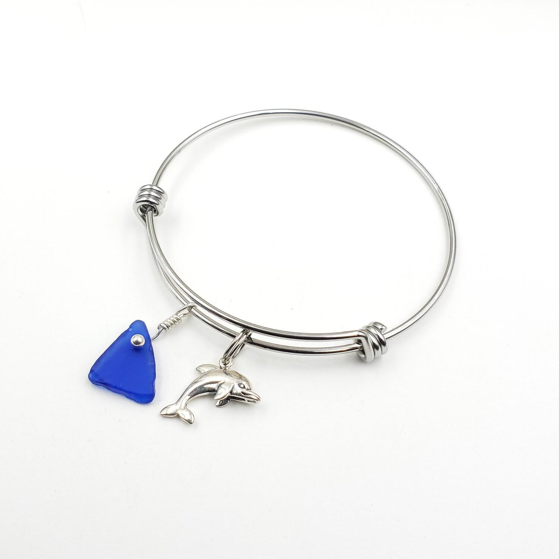 Bangle Bracelet with Dolphin Charm and Blue Maine Sea Glass