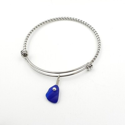 Twisted Bangle Bracelet with Cobalt Blue Maine Sea Glass