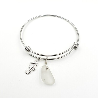 Bangle Bracelet with Seahorse Charm and White Lake Erie Beach Glass