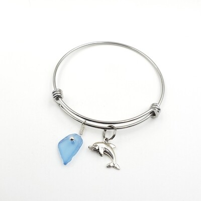 Bangle Bracelet with Dolphin Charm and Cornflower Blue Maine Sea Glass