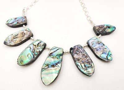 Abalone Shell Bib Necklace with Silver Beads