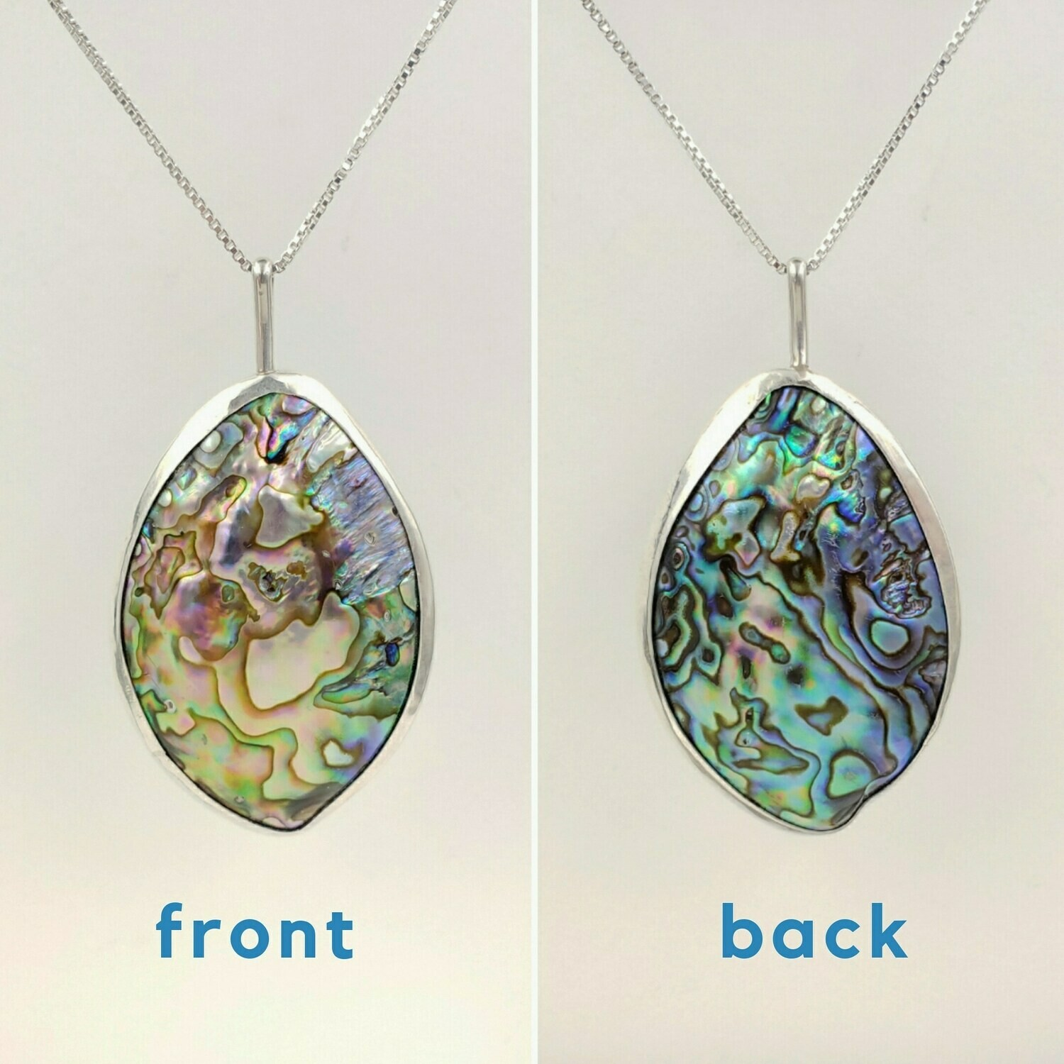 Double Sided Abalone Shell Puff Necklace in Sterling Silver