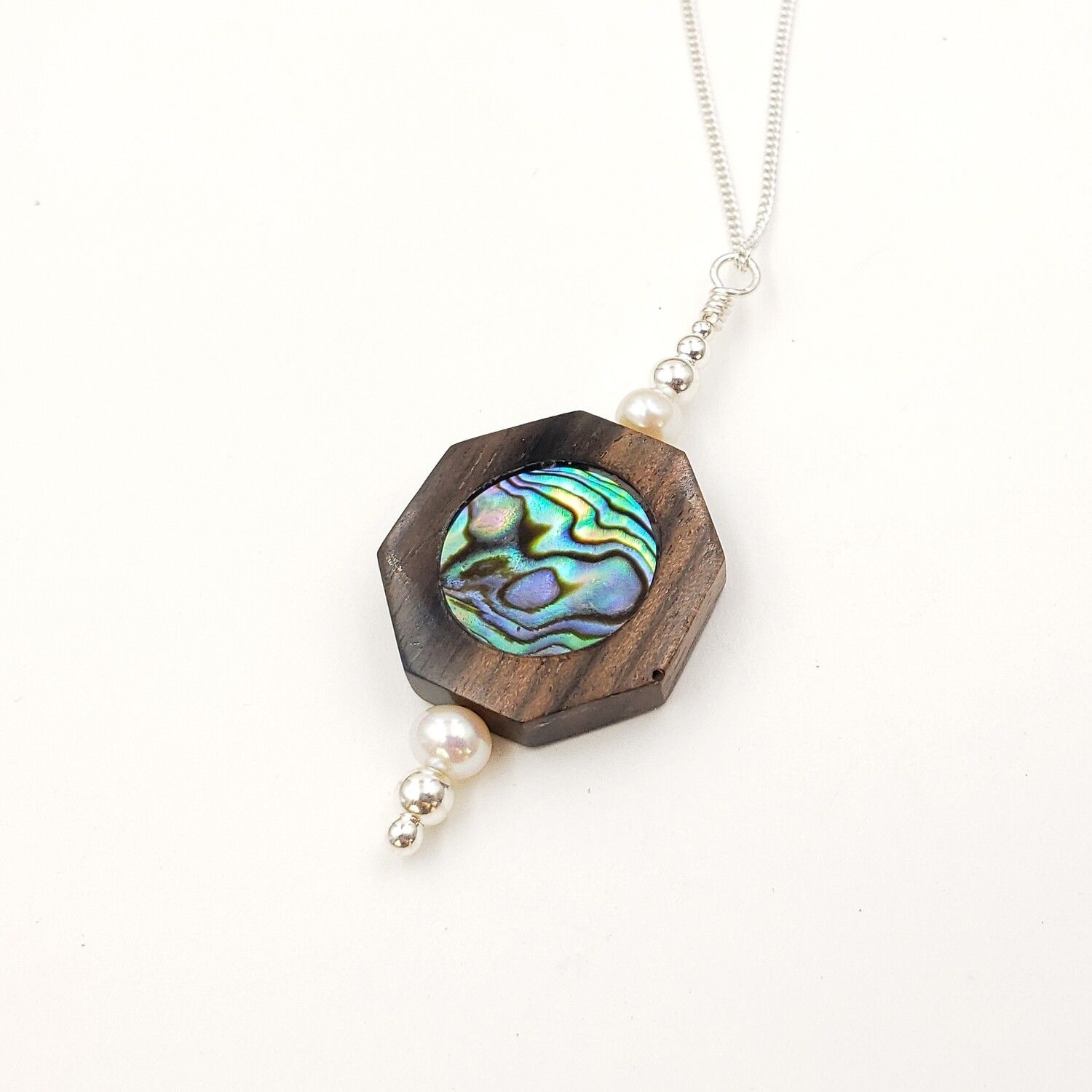 Wooden Octagon With Abalone Inlay Stack Necklace with Freshwater Pearls and Silver Beads