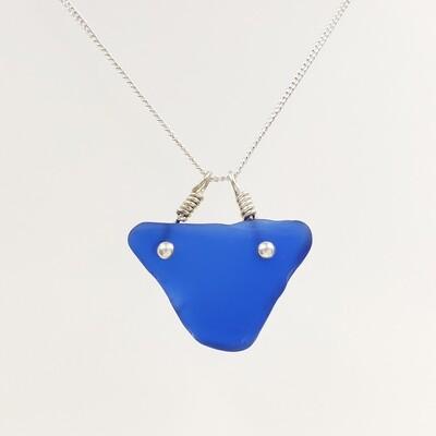 Cobalt Blue Maine Sea Glass Triangle Bar Necklace
