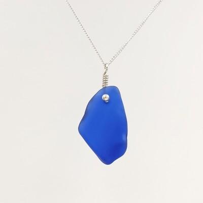 Cobalt Blue Maine Sea Glass Necklace