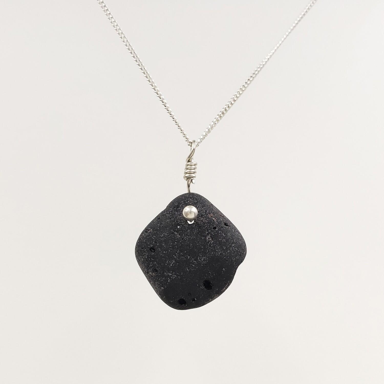 Black Vitrite Lake Erie Beach Glass Necklace