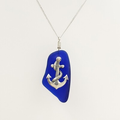 Cobalt Blue Maine Sea Glass and Anchor Charm Necklace