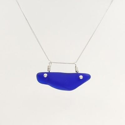 Cobalt Blue Maine Sea Glass Thick Bar Necklace