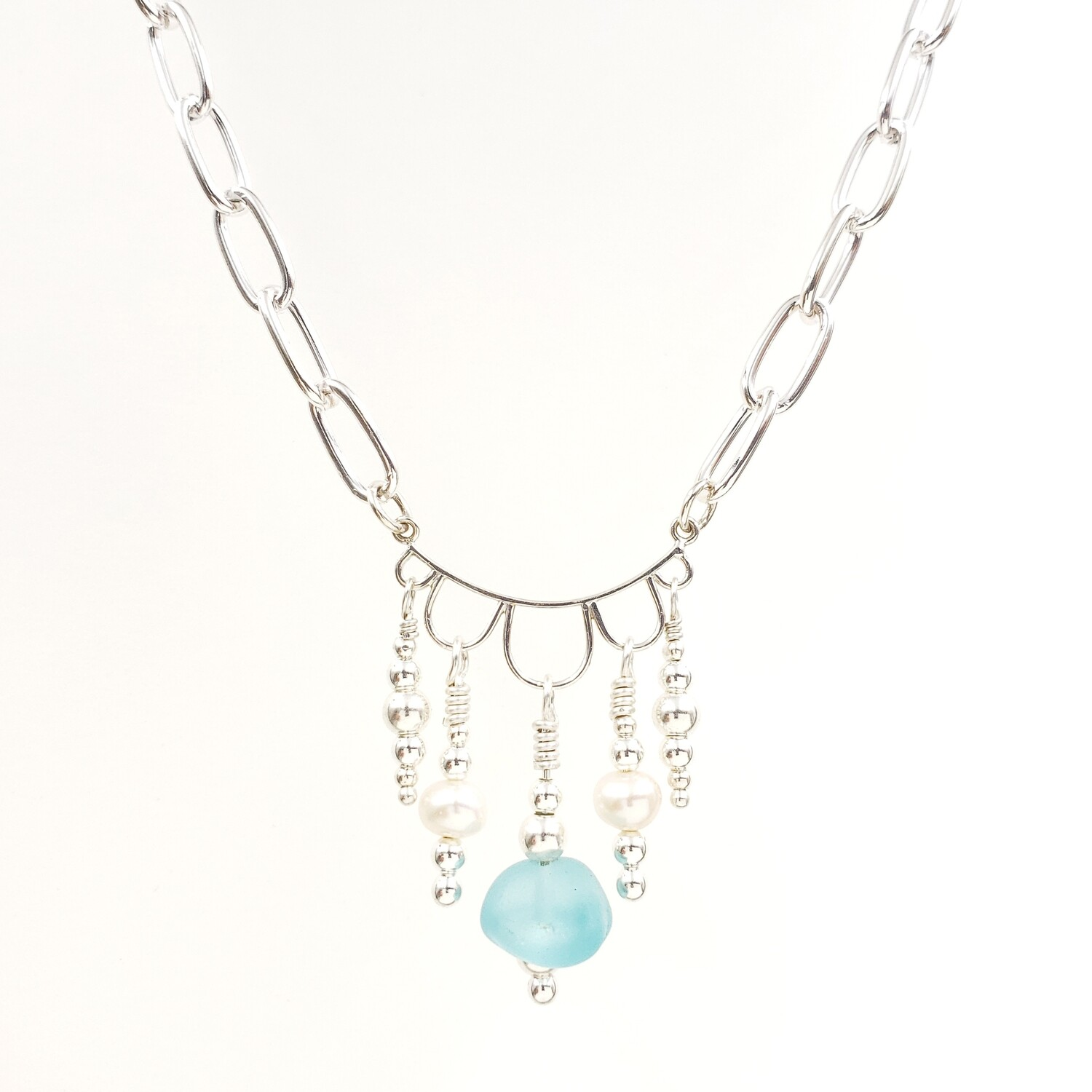 Light Blue Lake Erie Beach Glass Chandelier Necklace