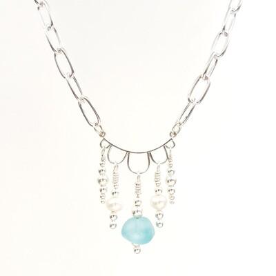 Light Blue Lake Erie Beach Glass Chandelier Necklace