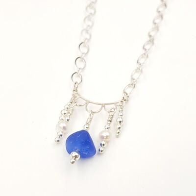 Blue Lake Erie Beach Glass Chandelier Necklace