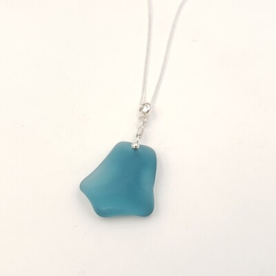 Teal Blue Maine Sea Glass Necklace