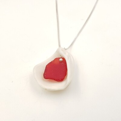 Florida Shell Necklace with Red Lake Erie Beach Glass