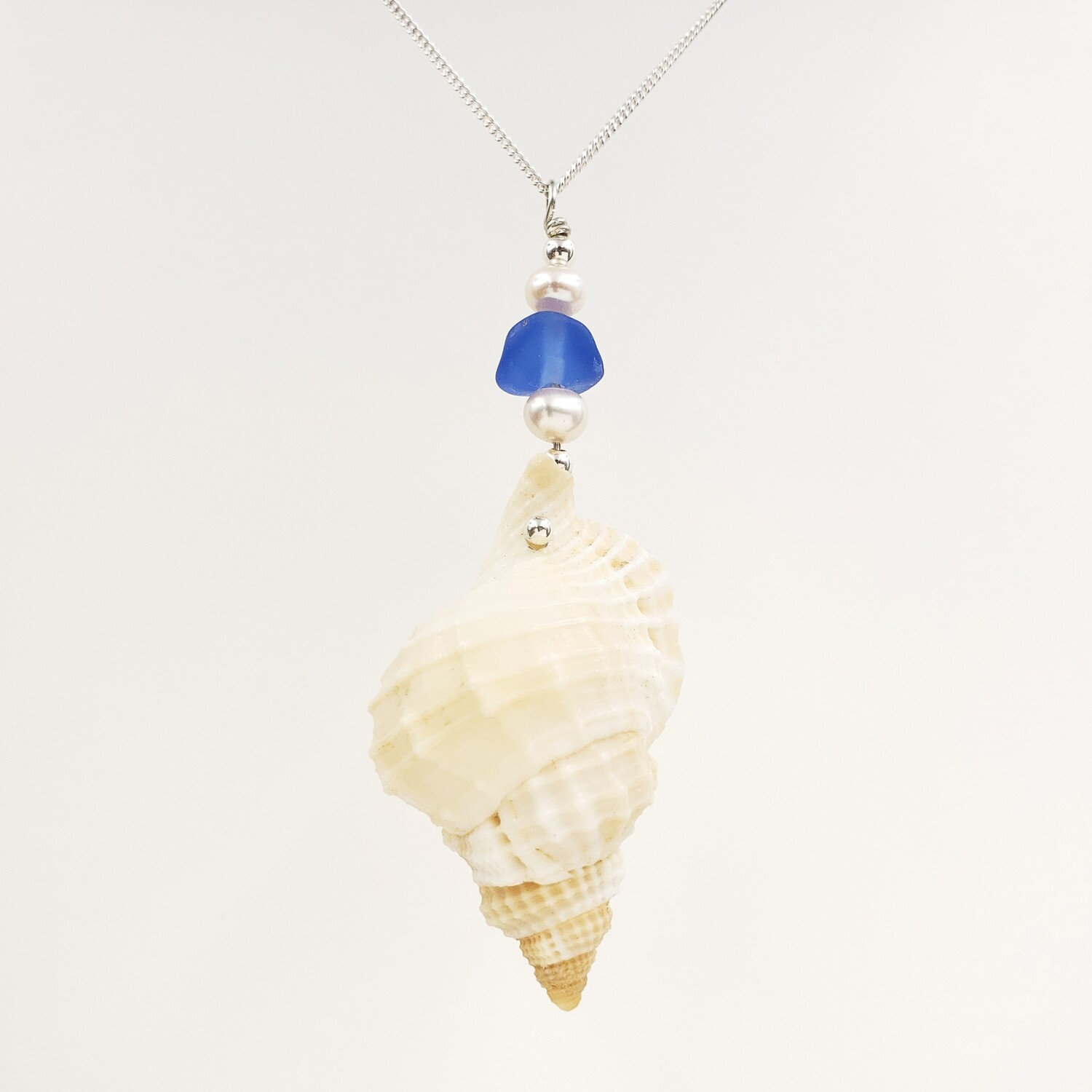 Murex Shell Necklace with Cornflower Blue Lake Erie Beach Glass and Freshwater Pearls