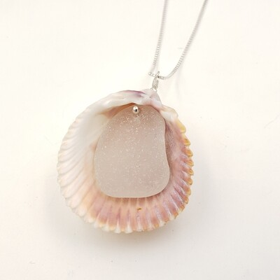 Cockle Shell Necklace with White Lake Erie Beach Glass