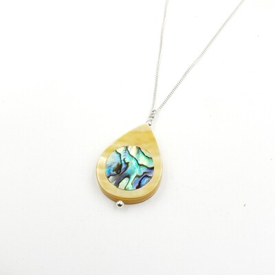 Mother of Pearl Teardrop with Abalone Inlay Necklace