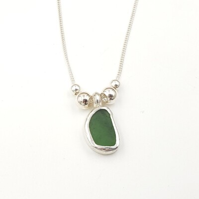 Olive Green Lake Erie Beach Glass Necklace Bezel Set in Sterling Silver with Silver Beads